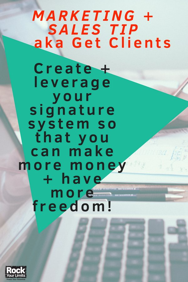 Ready to create more leverage + value in your biz? Rock Your Assets™ is a Proven step-by-step system to help you craft your signature system + leverage it. #rockyourlimits #getclients #biztalk